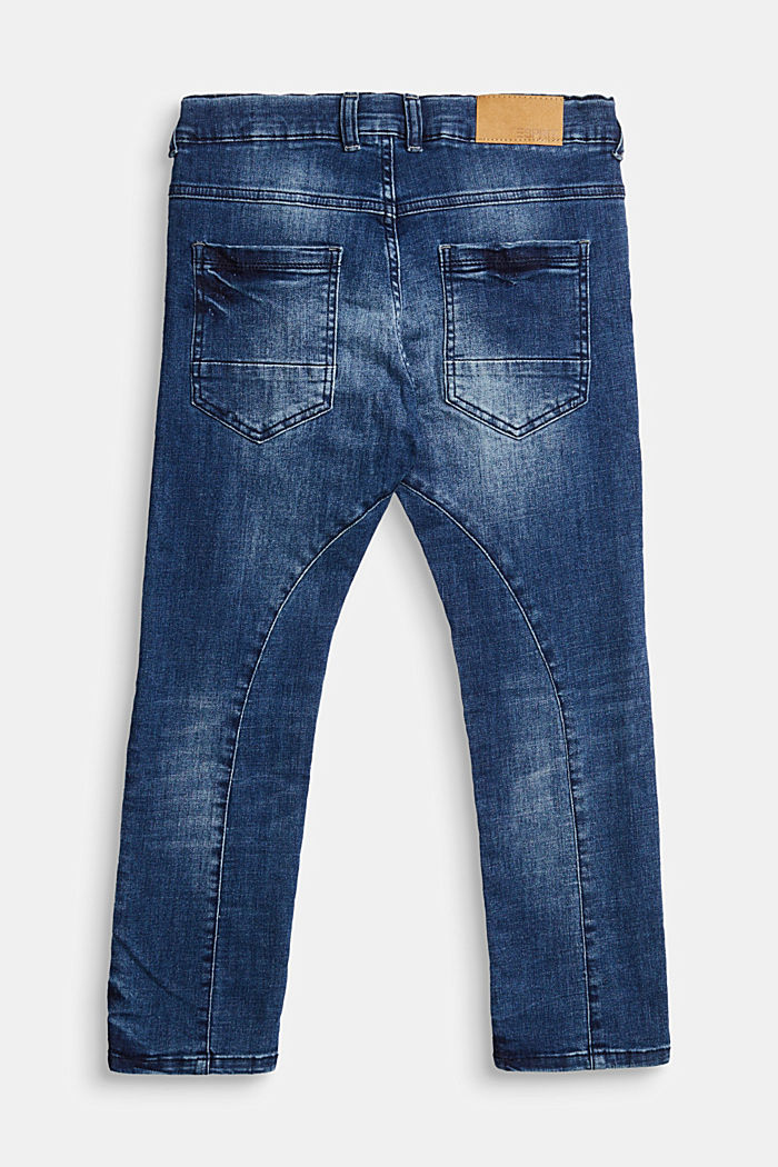Jeans with decorative stitching and adjustable waistband, BLUE MEDIUM WASHED, detail image number 1