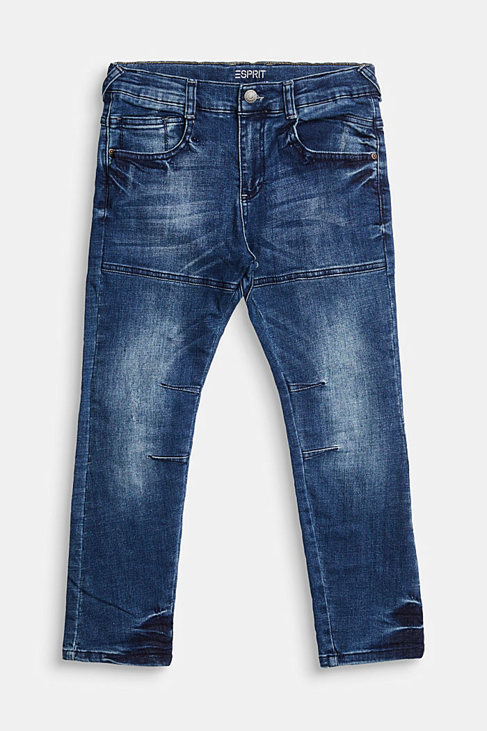 Jeans with decorative stitching and adjustable waistband, BLUE MEDIUM WASHED, detail image number 0