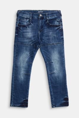 Jeans with decorative stitching and adjustable waistband, BLUE MEDIUM WASHED, detail