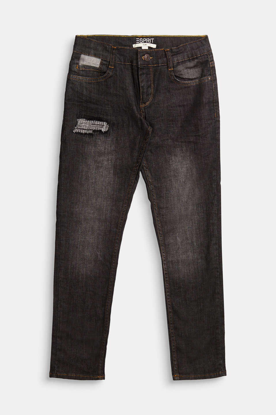 Esprit - Jeans with adjustable waistband and ripped effects