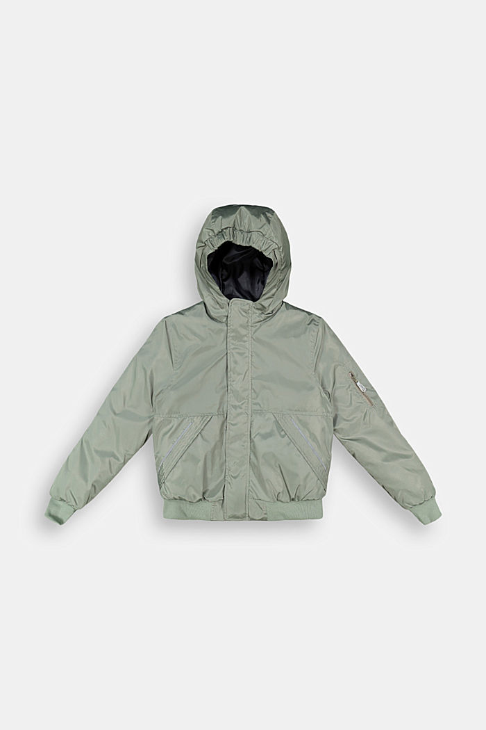 Padded bomber-style jacket, DUSTY GREEN, detail image number 0