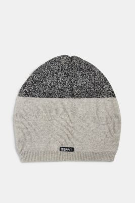 Knitted hat in a colour block look, MEDIUM GREY, detail