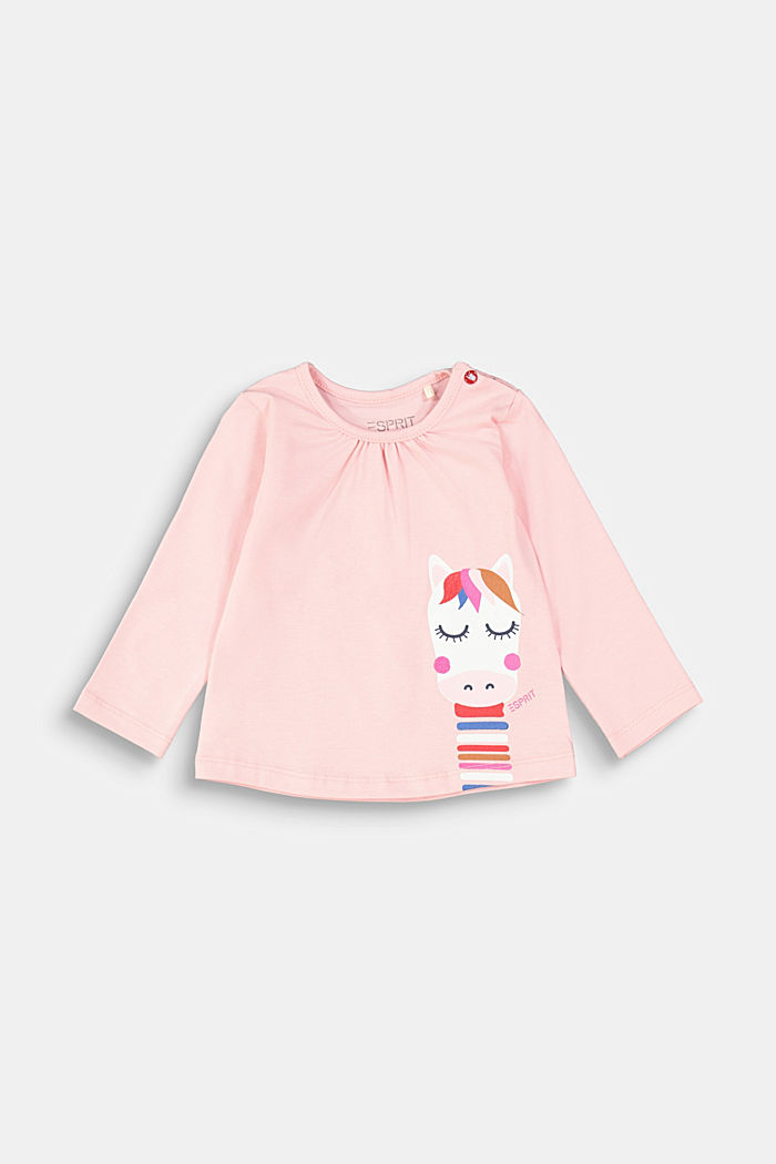 Long sleeve top with a print and organic cotton, LIGHT PINK, detail image number 0