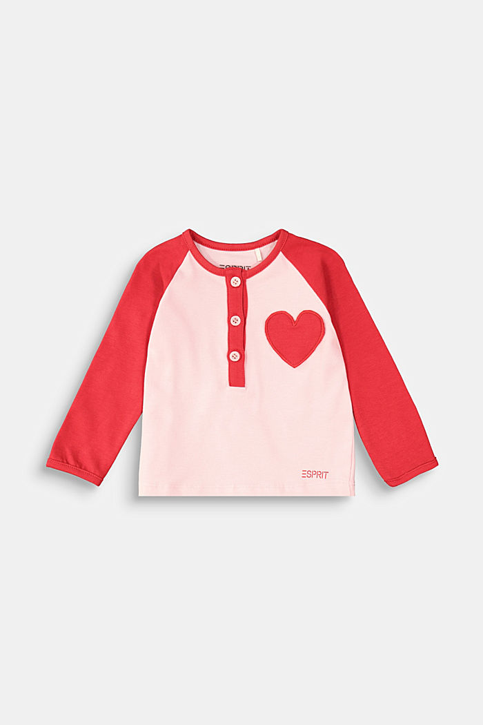 Henley long sleeve top with an appliquéd heart