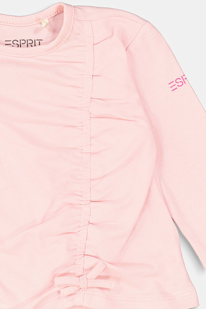 Long sleeve top with a gather and a bow, LIGHT PINK, detail image number 2