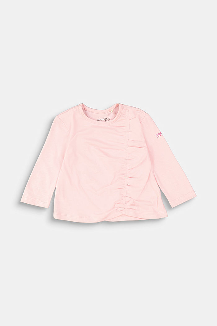 Long sleeve top with a gather and a bow, LIGHT PINK, overview