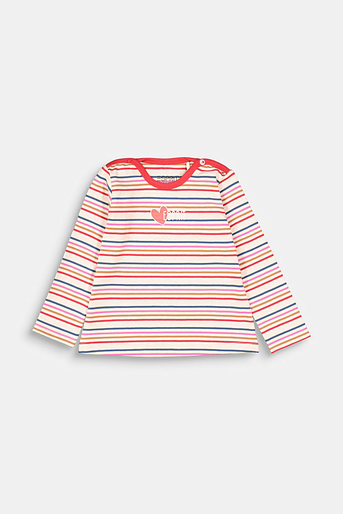 Long sleeve top with colourful stripes, SAND, detail image number 0