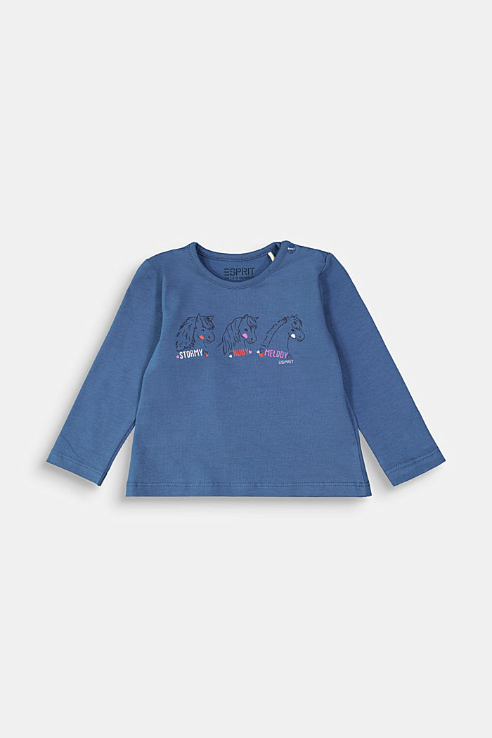 Long sleeve top with a horse print, BLUE, overview