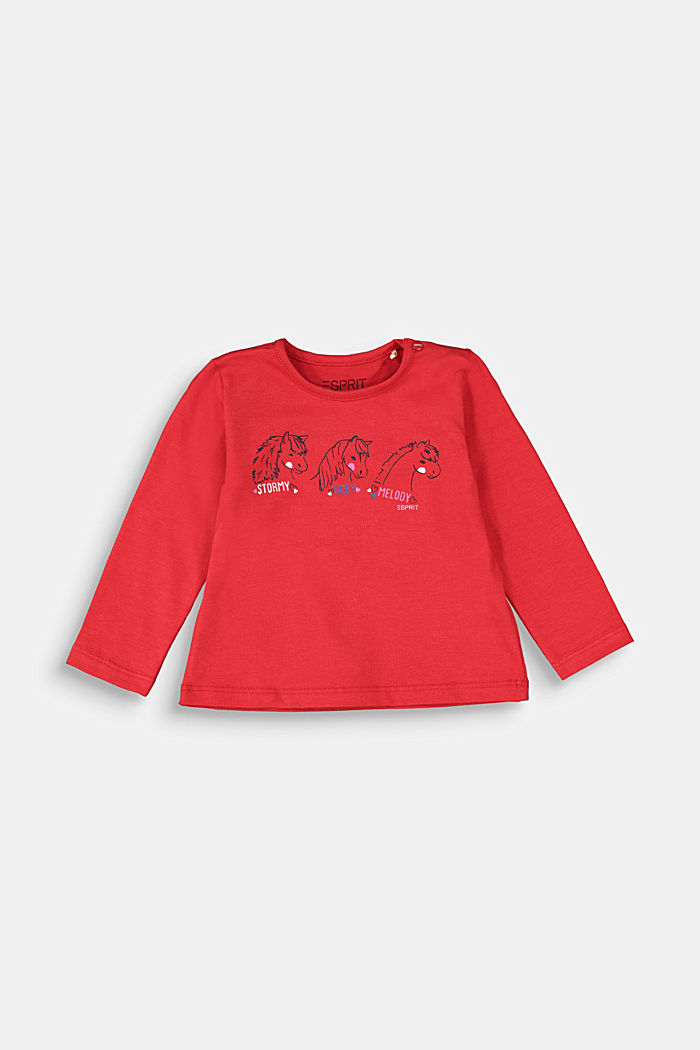 Long sleeve top with a horse print, RED, detail image number 0