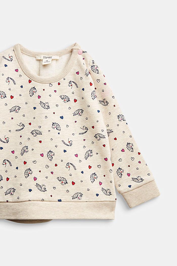 Horse print sweatshirt, 100% organic cotton, SAND, detail image number 2