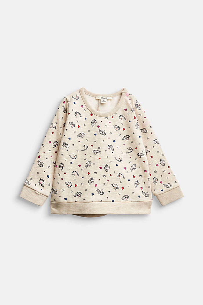 Horse print sweatshirt, 100% organic cotton, SAND, detail image number 0