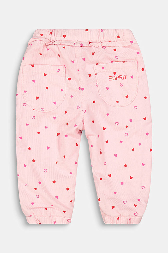 Corduroy trousers with a little heart print and jersey lining