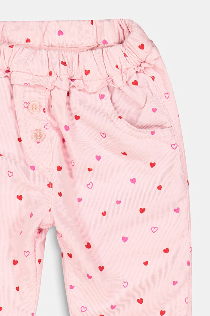 Corduroy trousers with a little heart print and jersey lining, LIGHT PINK, detail image number 1
