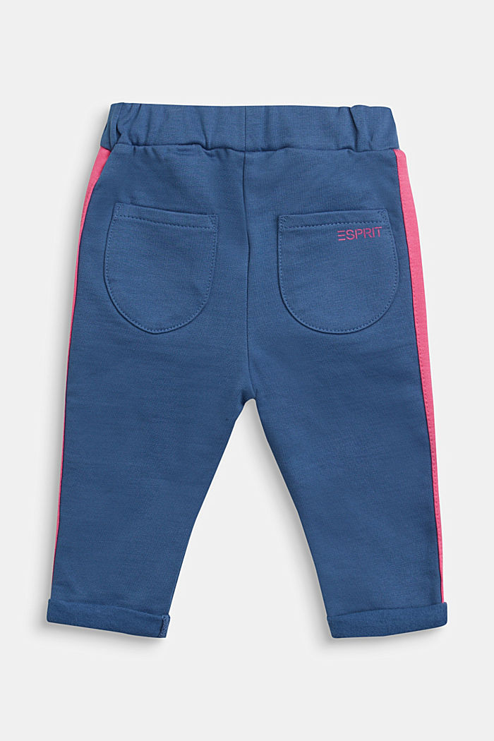 Sweatshirt fabric trousers in a tracksuit bottom style, 100% cotton, BLUE, detail image number 1