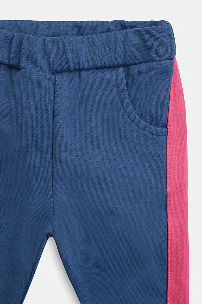 Sweatshirt fabric trousers in a tracksuit bottom style, 100% cotton, BLUE, detail image number 2