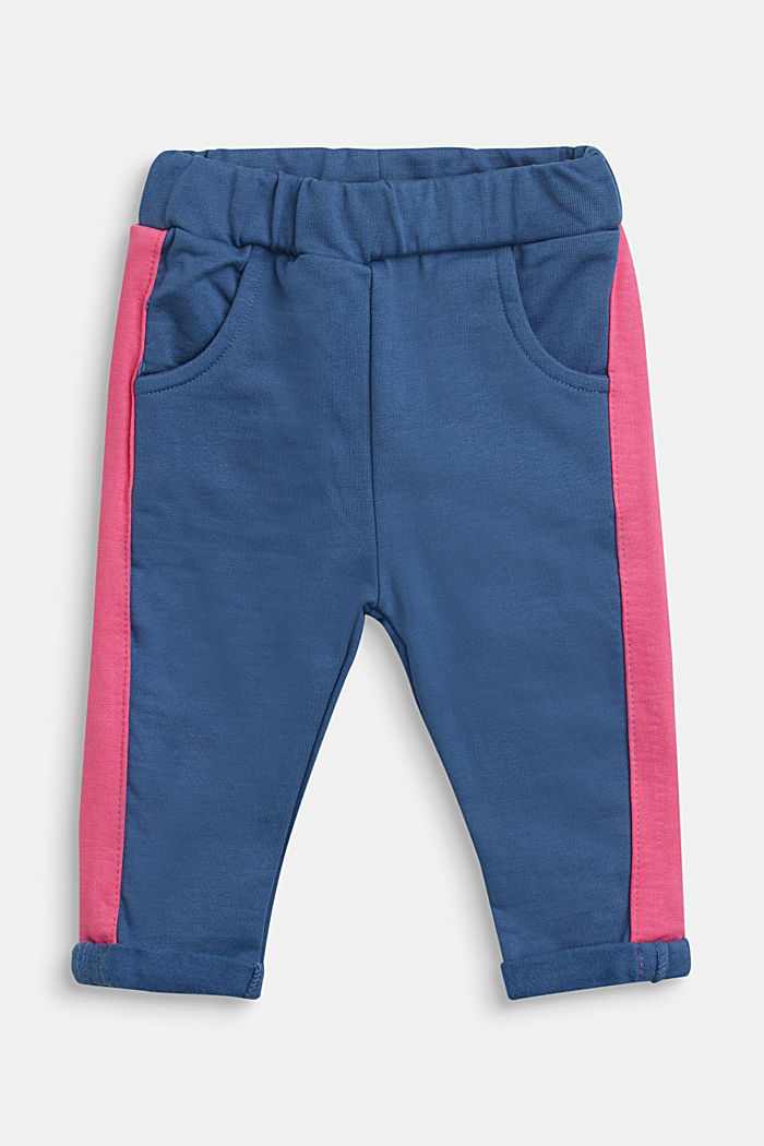 Sweatshirt fabric trousers in a tracksuit bottom style, 100% cotton, BLUE, detail image number 0