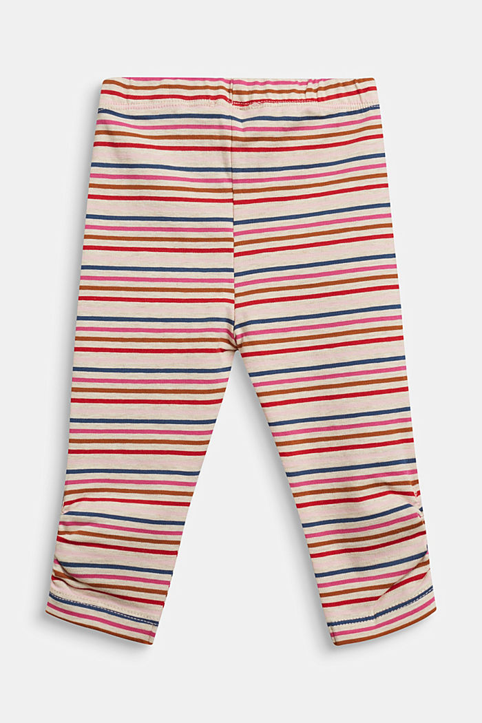 Striped leggings, organic cotton with stretch, SAND, detail image number 1