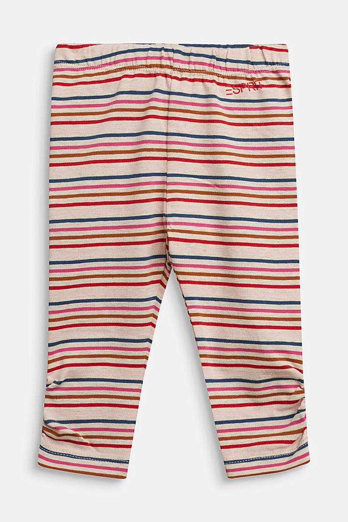 Striped leggings, organic cotton with stretch, SAND, detail image number 0
