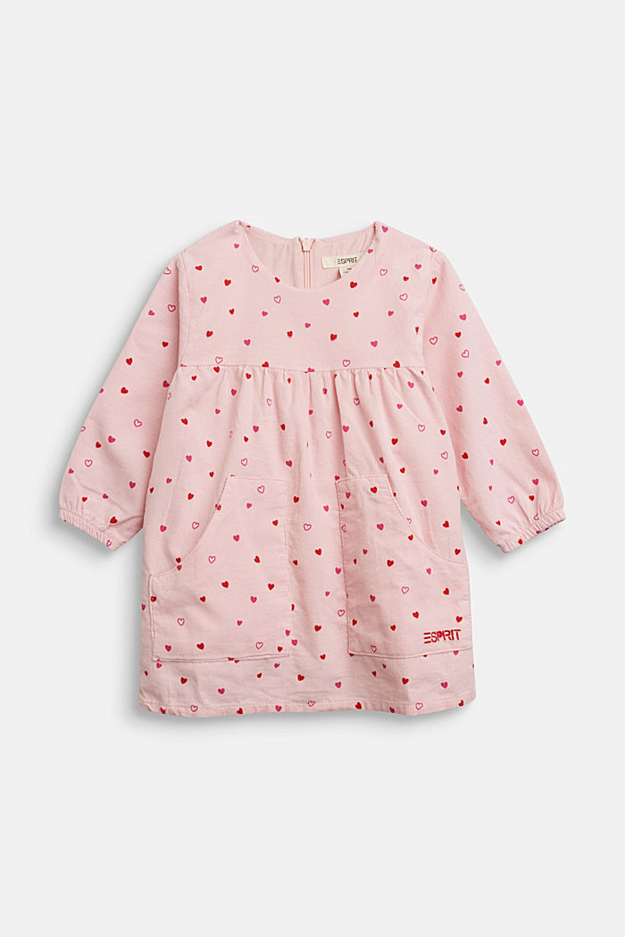 Cotton corduroy dress with a heart print