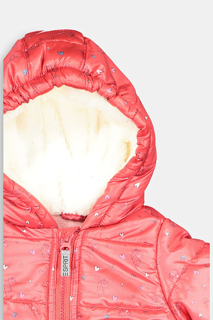 Jacket with fleece lining and a horse print, RED, detail image number 2