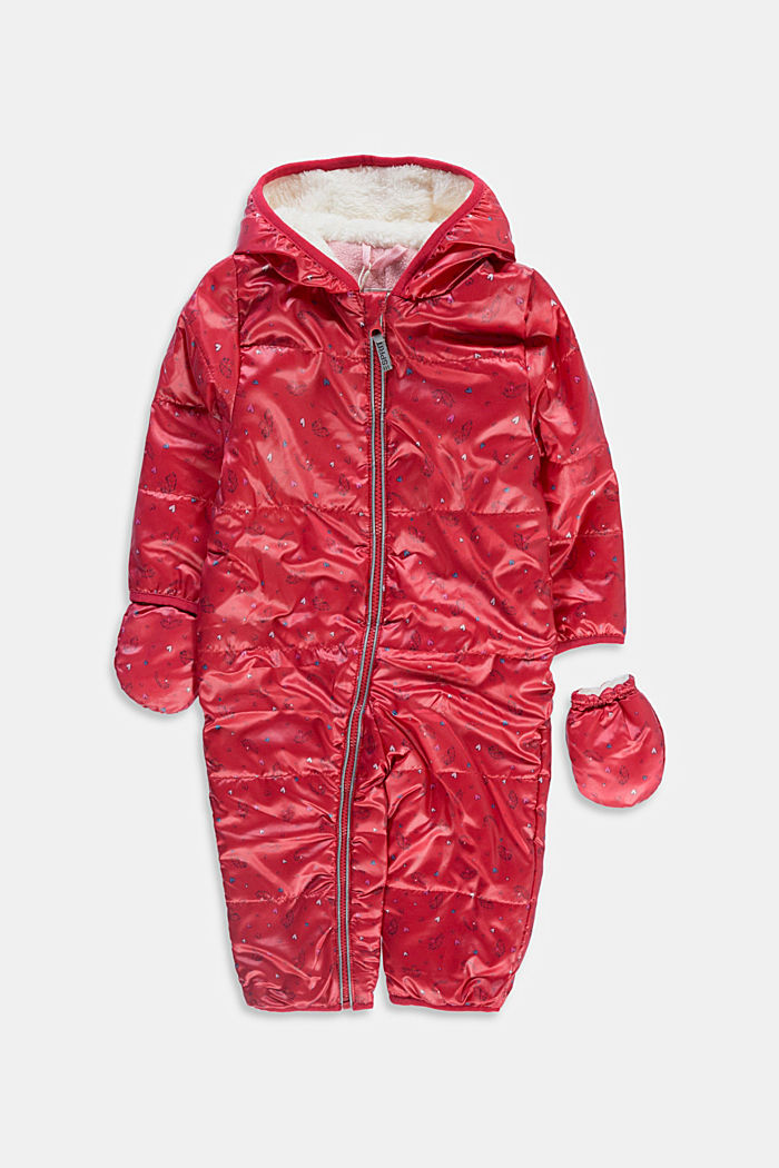 Printed snow suit with fleece lining, RED, detail image number 0