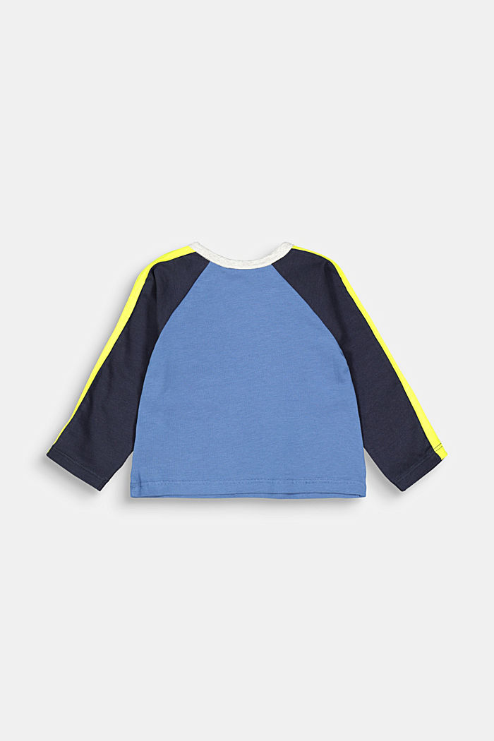 Colour block long sleeve top with organic cotton, BLUE, detail image number 1