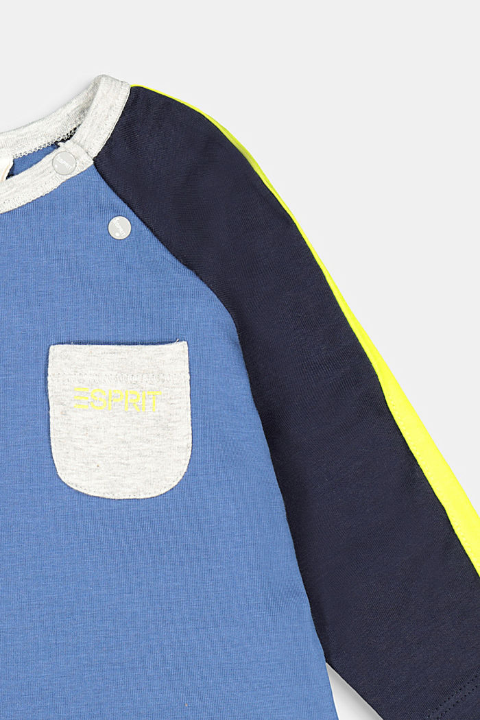 Colour block long sleeve top with organic cotton, BLUE, detail image number 2