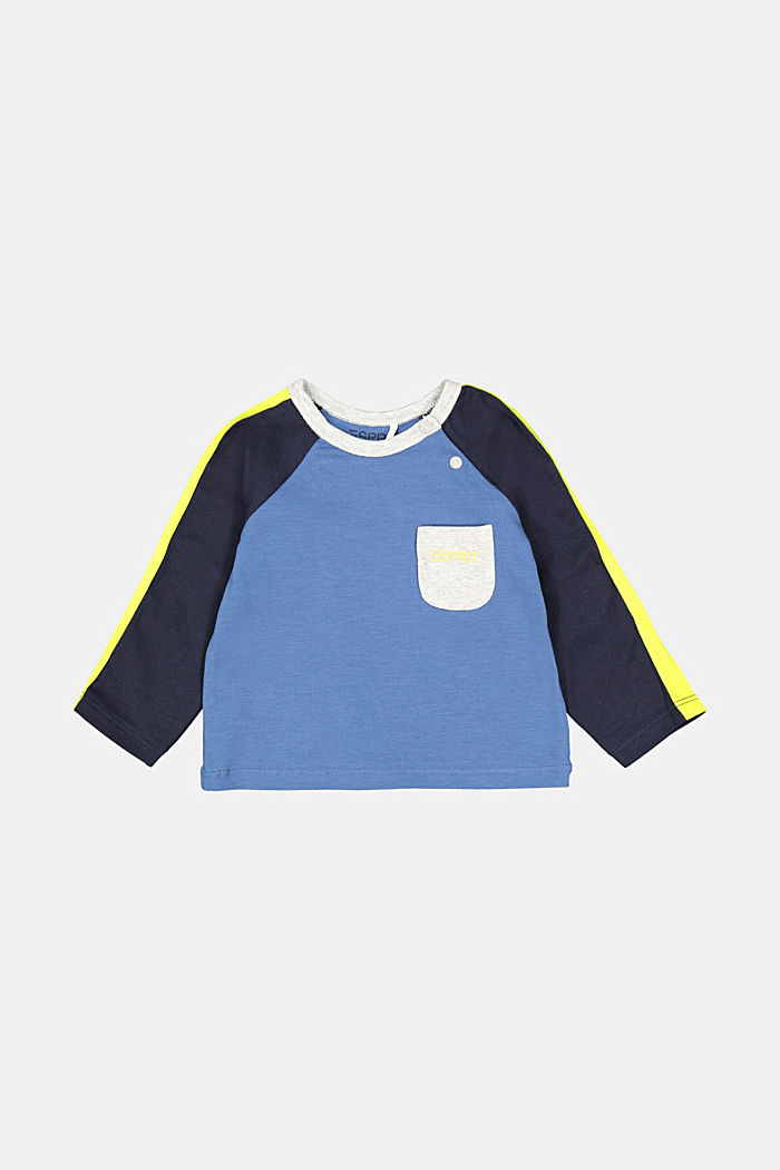Colour block long sleeve top with organic cotton, BLUE, detail image number 0