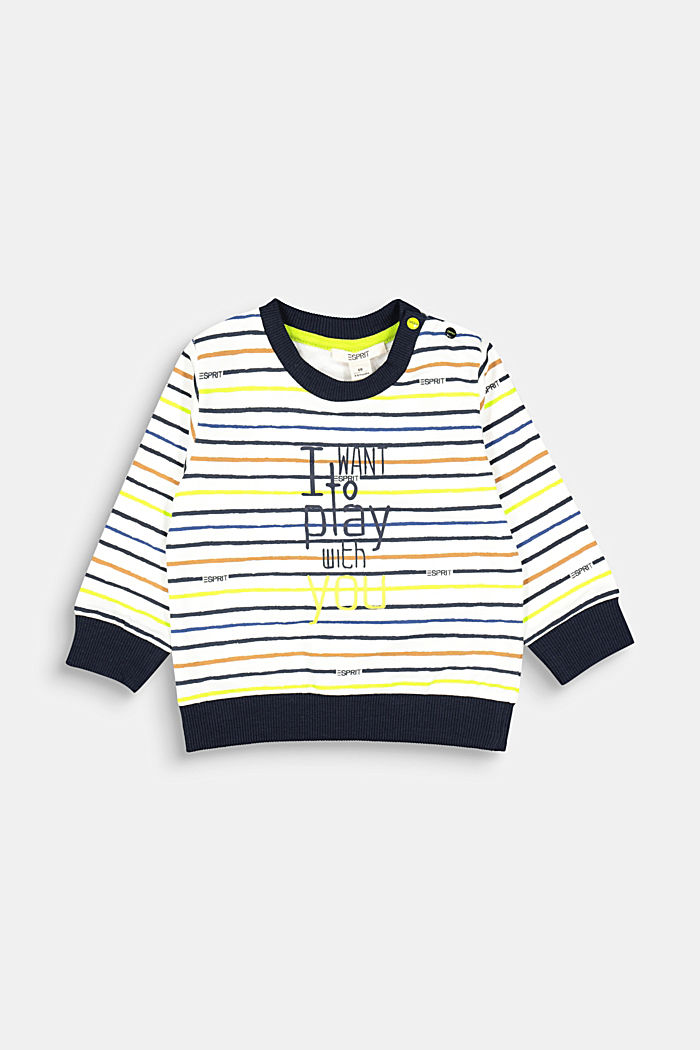 Striped sweatshirt made of 100% organic cotton, SKIN BEIGE, detail image number 0