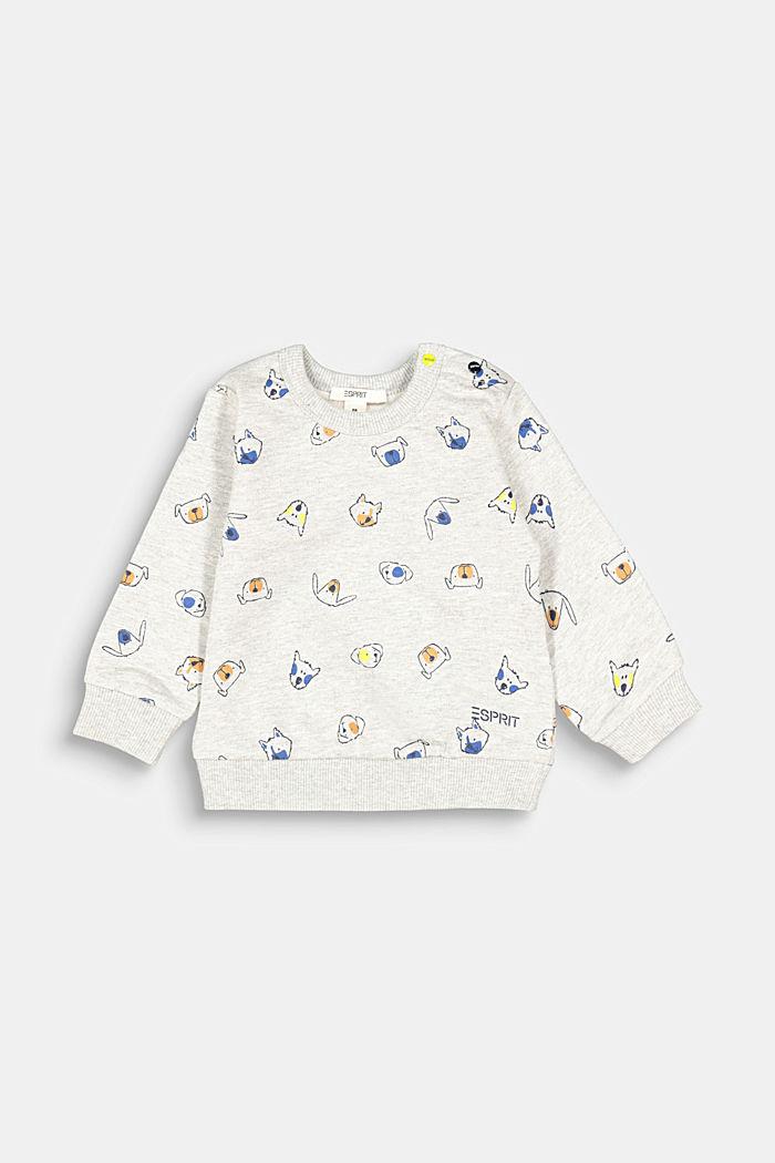 Animal print sweatshirt, 100% organic cotton, MEDIUM GREY, detail image number 1