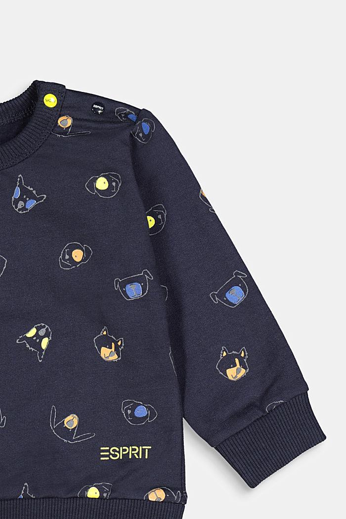 Animal print sweatshirt, 100% organic cotton, NAVY, detail image number 2