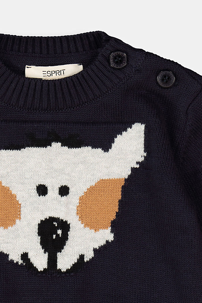 Jumper with an animal motif, 100% organic cotton, NAVY, detail image number 2