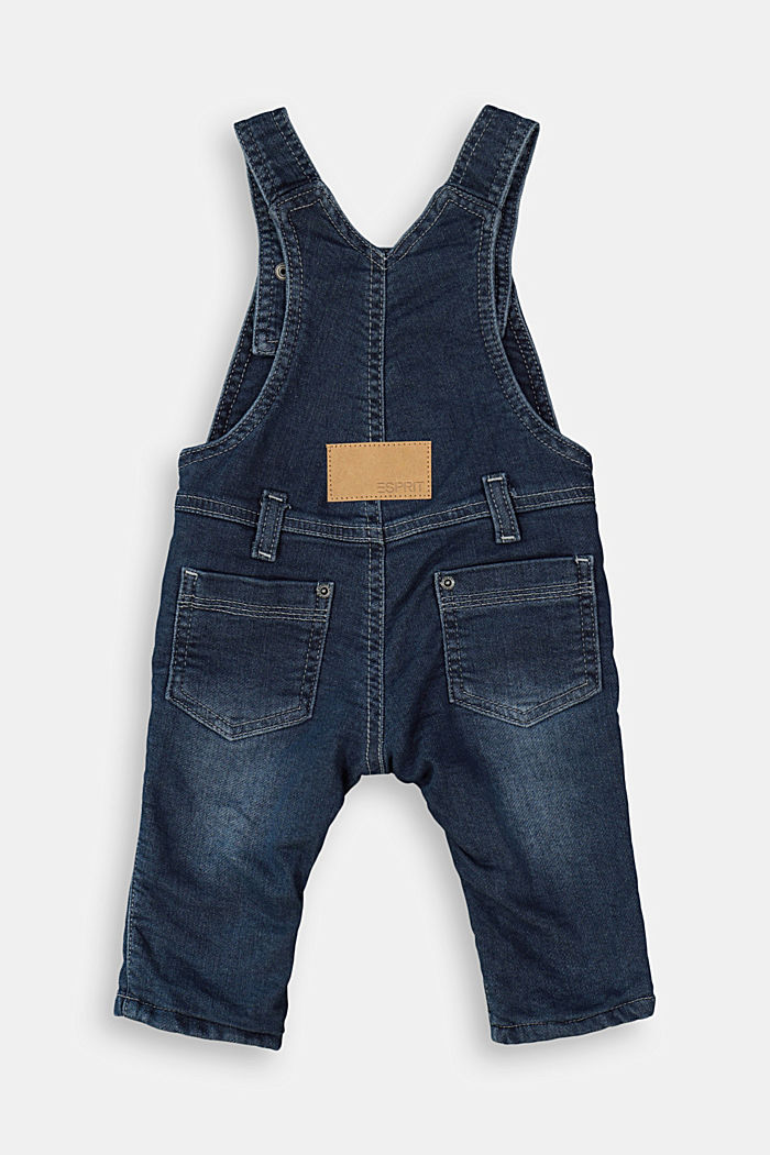 Denim dungarees with soft jersey lining