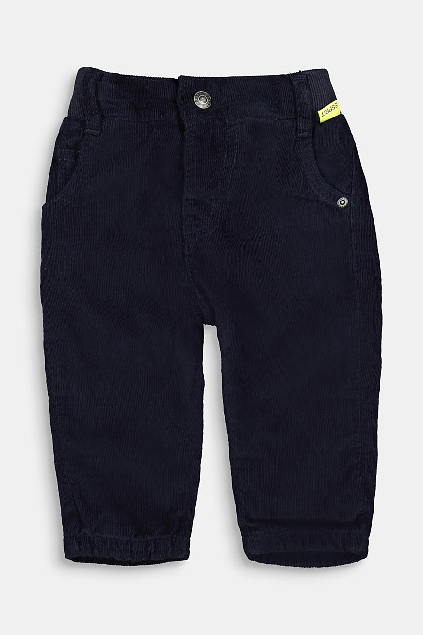 Pull-on corduroy trousers with jersey lining
