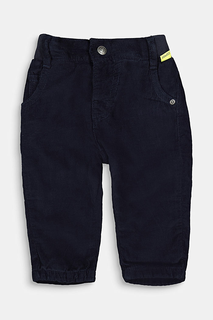 Pull-on corduroy trousers with jersey lining, NAVY, detail image number 0