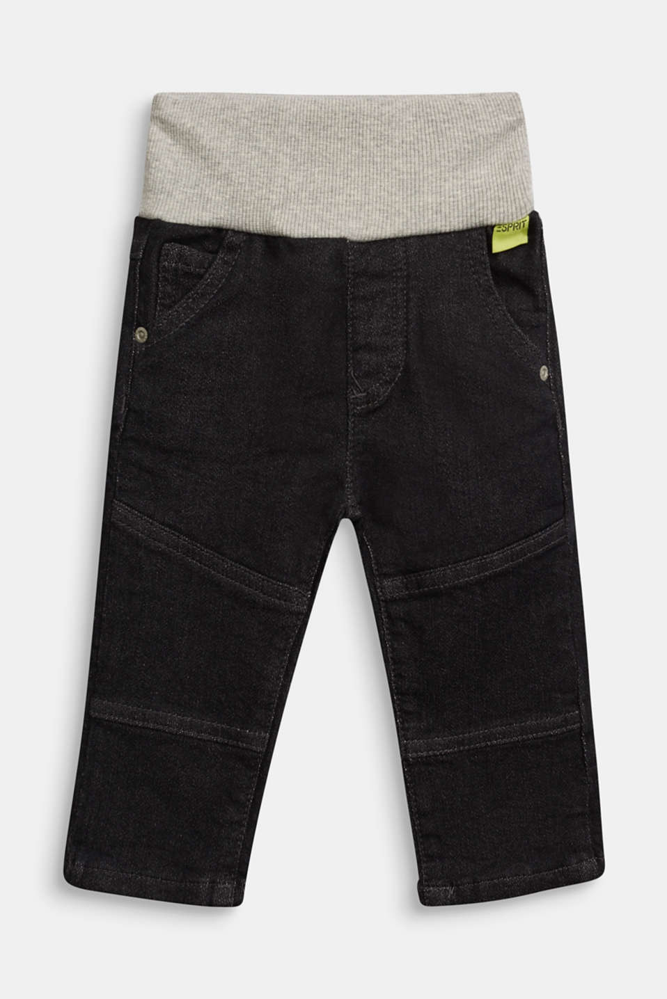 Esprit - Organic cotton jeans with a ribbed waistband