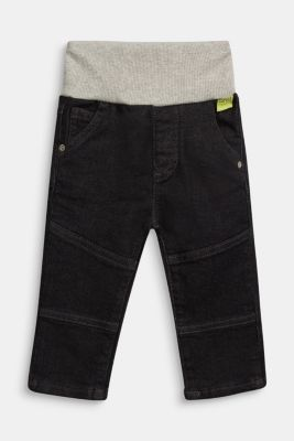 Organic cotton jeans with a ribbed waistband, GREY MEDIUM WASHED, detail
