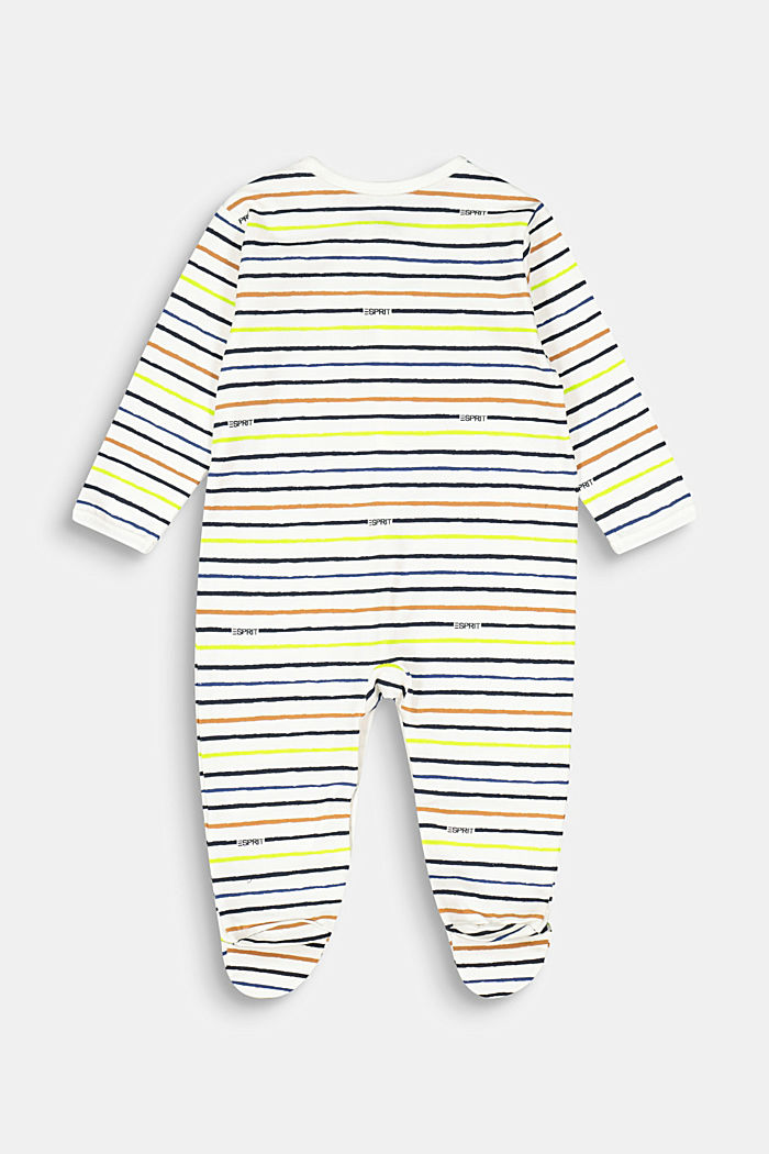 Romper suit with a striped print, organic cotton, SKIN BEIGE, detail image number 1