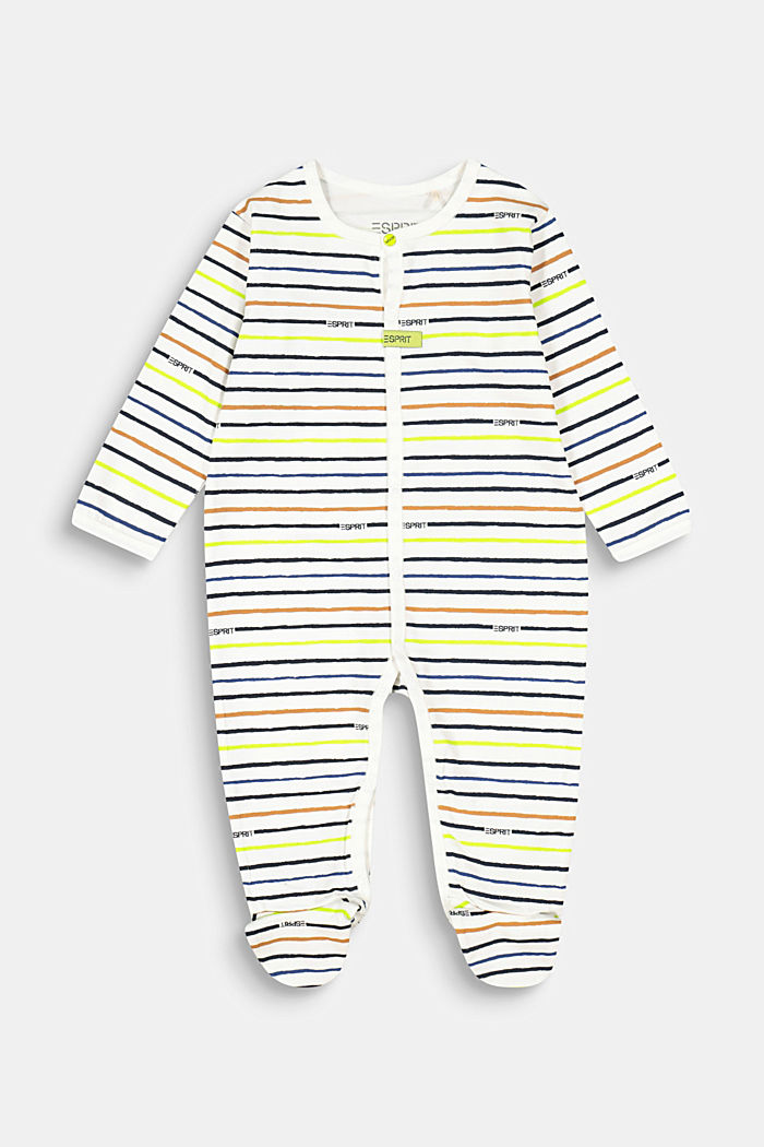 Romper suit with a striped print, organic cotton, SKIN BEIGE, detail image number 0