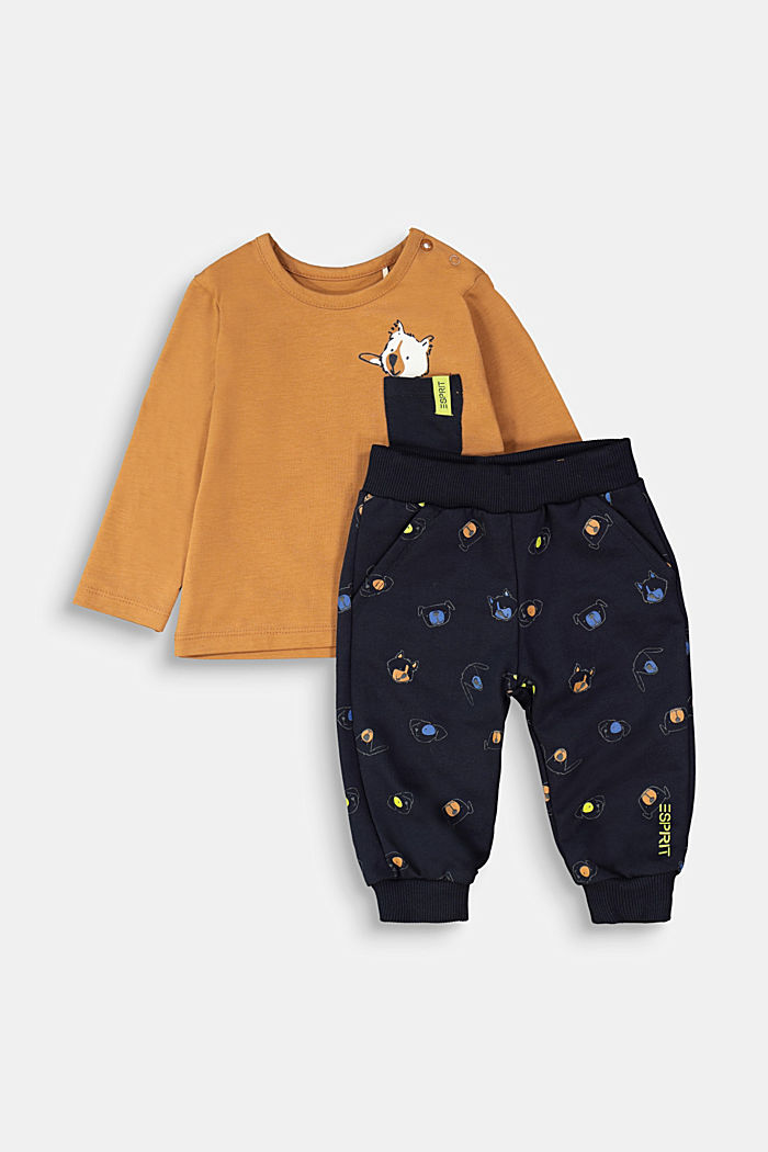 Sæt: overdel og bukser, økologisk bomuld, CAMEL, detail image number 0