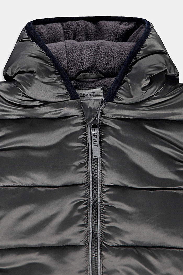 Gewatteerde jas met fleece voering, MEDIUM GREY, detail image number 2