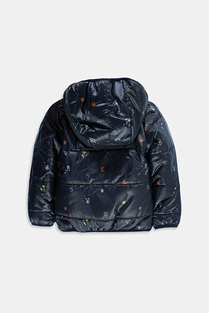 Printed quilted jacket with fleece lining, NAVY, detail image number 1