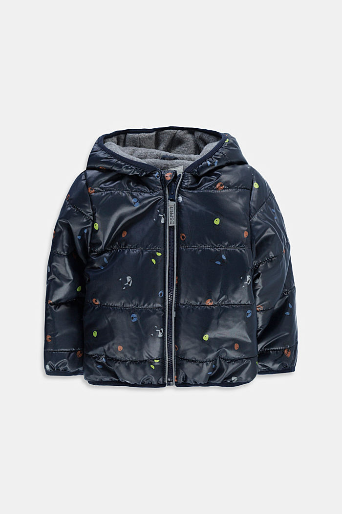 Printed quilted jacket with fleece lining, NAVY, detail image number 0