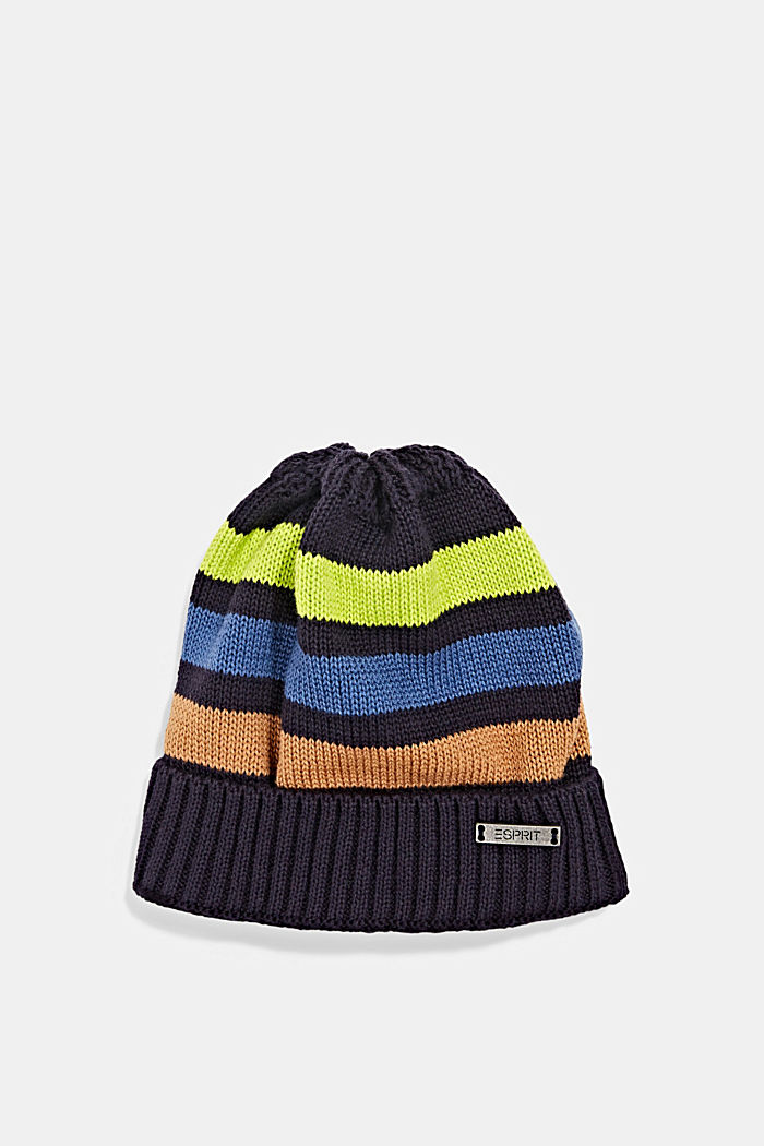 Striped knitted hat with jersey lining