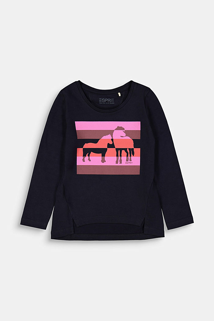 Long sleeve top with a horse print, NAVY, detail image number 0