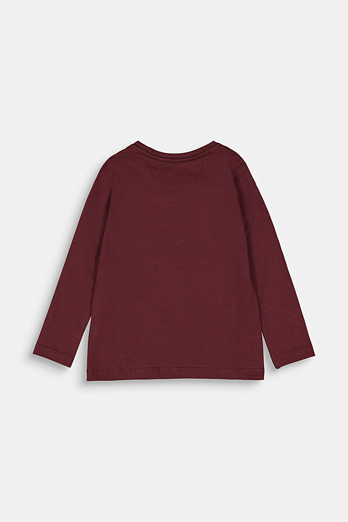 Long sleeve top with a horse print, BORDEAUX RED, detail image number 1