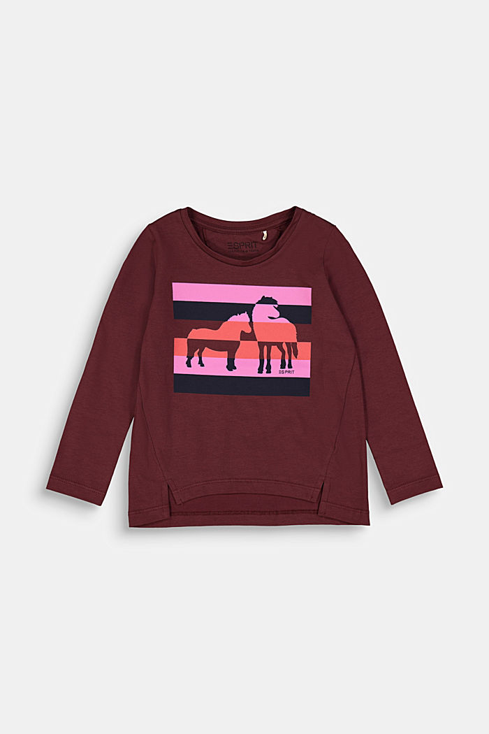 Long sleeve top with a horse print, BORDEAUX RED, detail image number 0