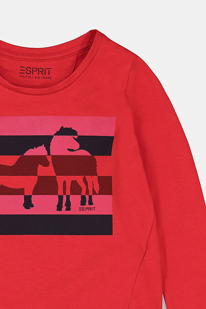 Long sleeve top with a horse print, RED, detail image number 2