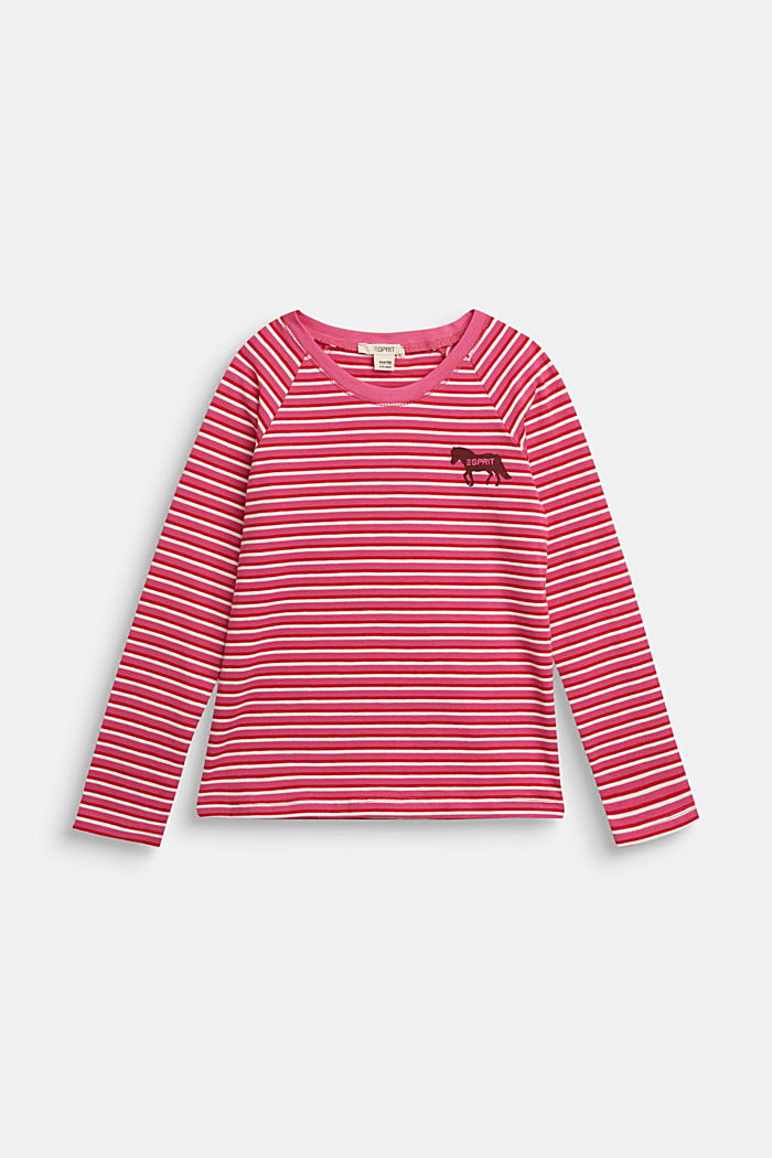 Striped long sleeve top with horse print, PINK, overview
