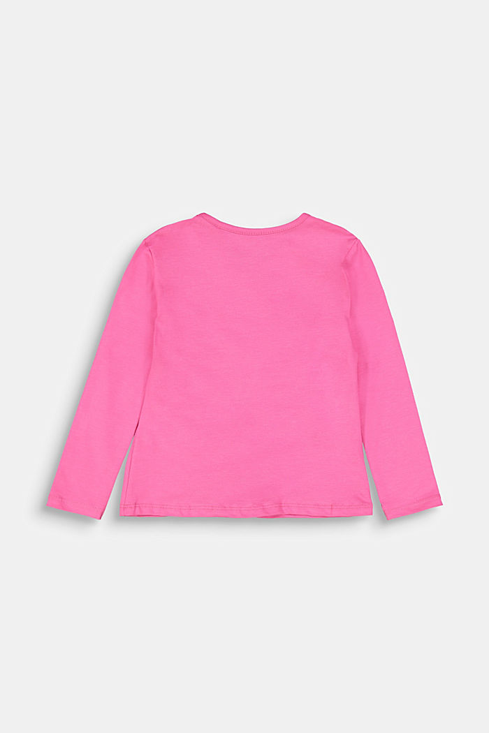 Long sleeve top with a gather and a bow, PINK, detail image number 1